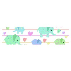 Elephant pastel pattern Satin Scarf (Oblong)