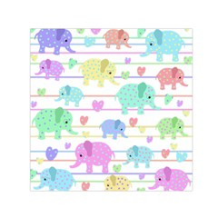 Elephant pastel pattern Small Satin Scarf (Square)