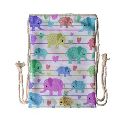 Elephant pastel pattern Drawstring Bag (Small)