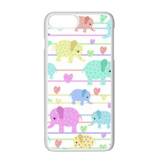 Elephant pastel pattern Apple iPhone 7 Plus White Seamless Case
