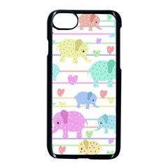 Elephant pastel pattern Apple iPhone 7 Seamless Case (Black)