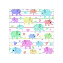 Elephant pastel pattern Square Tapestry (Small)