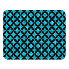Circles3 Black Marble & Turquoise Marble (r) Double Sided Flano Blanket (large)