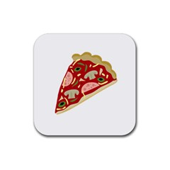Pizza slice Rubber Square Coaster (4 pack)