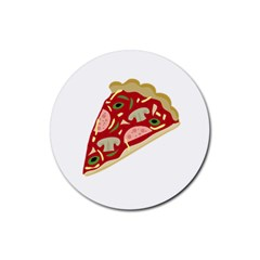 Pizza slice Rubber Round Coaster (4 pack)