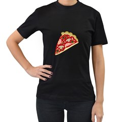 Pizza slice Women s T-Shirt (Black) (Two Sided)