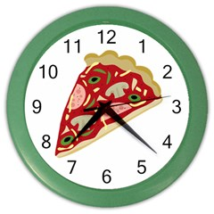 Pizza slice Color Wall Clocks