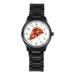 Pizza slice Stainless Steel Round Watch