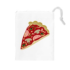 Pizza slice Drawstring Pouches (Large)