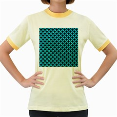 Circles3 Black Marble & Turquoise Marble Women s Fitted Ringer T Shirt
