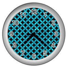 Circles3 Black Marble & Turquoise Marble Wall Clock (silver)