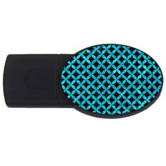 Circles3 Black Marble & Turquoise Marble Usb Flash Drive Oval (2 Gb)