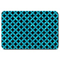 Circles3 Black Marble & Turquoise Marble Large Doormat