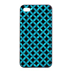 Circles3 Black Marble & Turquoise Marble Apple Iphone 4/4s Seamless Case (black)