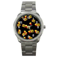 Hamburgers and french fries pattern Sport Metal Watch