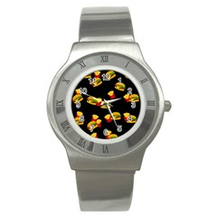Hamburgers and french fries pattern Stainless Steel Watch