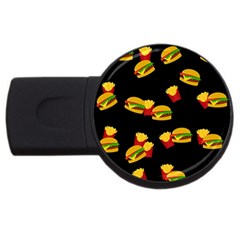 Hamburgers and french fries pattern USB Flash Drive Round (4 GB)