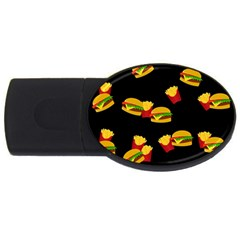 Hamburgers and french fries pattern USB Flash Drive Oval (4 GB)