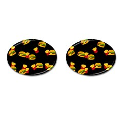 Hamburgers and french fries pattern Cufflinks (Oval)