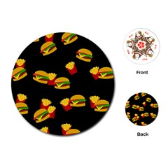 Hamburgers and french fries pattern Playing Cards (Round)