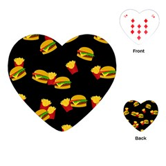 Hamburgers and french fries pattern Playing Cards (Heart)