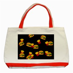 Hamburgers and french fries pattern Classic Tote Bag (Red)