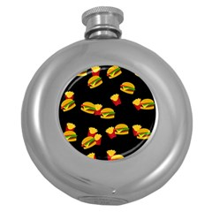Hamburgers and french fries pattern Round Hip Flask (5 oz)