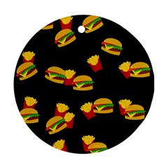 Hamburgers and french fries pattern Round Ornament (Two Sides)