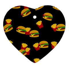 Hamburgers and french fries pattern Heart Ornament (Two Sides)