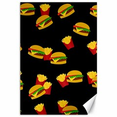 Hamburgers and french fries pattern Canvas 12  x 18