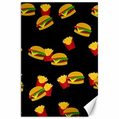 Hamburgers and french fries pattern Canvas 24  x 36