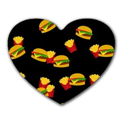 Hamburgers and french fries pattern Heart Mousepads