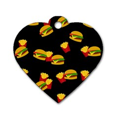 Hamburgers and french fries pattern Dog Tag Heart (Two Sides)