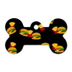 Hamburgers and french fries pattern Dog Tag Bone (Two Sides)