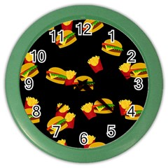 Hamburgers and french fries pattern Color Wall Clocks