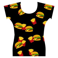 Hamburgers and french fries pattern Women s Cap Sleeve Top