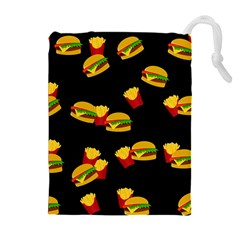 Hamburgers and french fries pattern Drawstring Pouches (Extra Large)