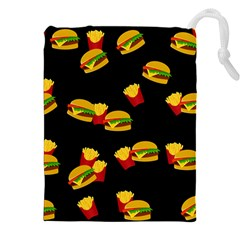 Hamburgers and french fries pattern Drawstring Pouches (XXL)