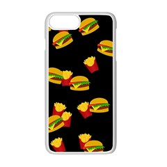 Hamburgers and french fries pattern Apple iPhone 7 Plus White Seamless Case
