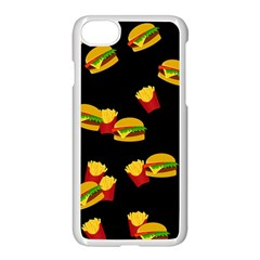 Hamburgers and french fries pattern Apple iPhone 7 Seamless Case (White)