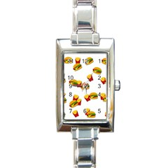 Hamburgers and french fries  Rectangle Italian Charm Watch