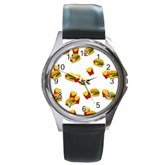 Hamburgers and french fries  Round Metal Watch