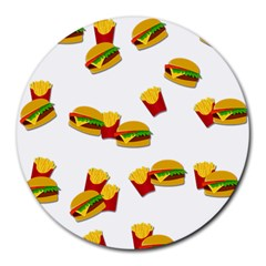 Hamburgers and french fries  Round Mousepads
