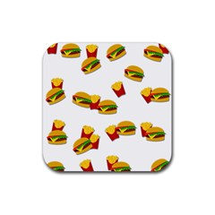 Hamburgers and french fries  Rubber Square Coaster (4 pack)