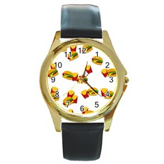 Hamburgers and french fries  Round Gold Metal Watch