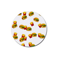 Hamburgers and french fries  Rubber Round Coaster (4 pack)