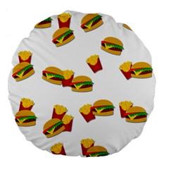 Hamburgers and french fries  Large 18  Premium Flano Round Cushions