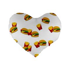 Hamburgers and french fries  Standard 16  Premium Flano Heart Shape Cushions
