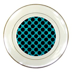 Circles2 Black Marble & Turquoise Marble (r) Porcelain Plate