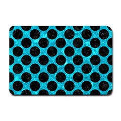 Circles2 Black Marble & Turquoise Marble (r) Small Doormat
